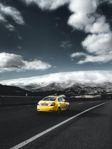 Preview wallpaper geely, car, rear view, yellow, road