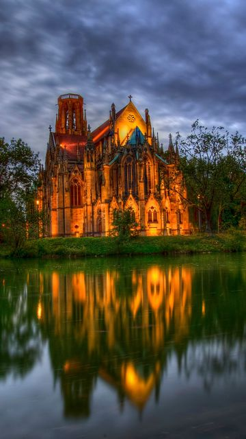 360x640 Wallpaper germany, park, cathedral, fountain, church, pond, trees