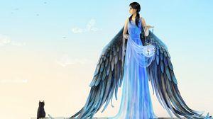 Preview wallpaper girl, angel, wings, cat, roof lamp