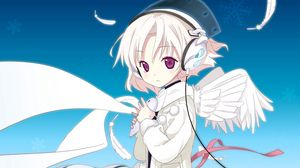 Preview wallpaper girl, angel, wings, headphones, music, kindness