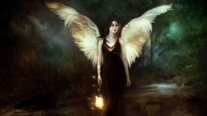 Preview wallpaper girl, angel, wood, lantern, night