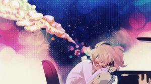 Preview wallpaper girl, anime, dreams, table