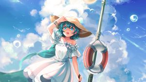Preview wallpaper girl, anime, hat, dress, penguins, art