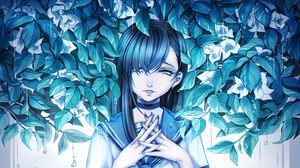 Preview wallpaper girl, anime, sadness, leaves, art