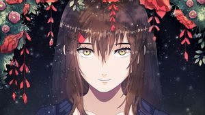 Preview wallpaper girl, anime, smile, sweet, flowers
