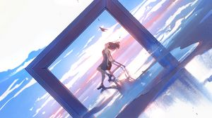 Preview wallpaper girl, arch, chair, hat, anime