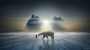 Preview wallpaper girl, bear, snow, mountains, polar, friend, photoshop