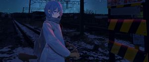Preview wallpaper girl, bicycle, night, stars, rails, railway