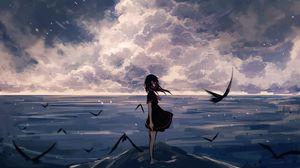 Preview wallpaper girl, birds, sea, anime, art