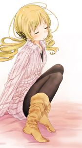 Preview wallpaper girl, blonde, cute, sweater, boots