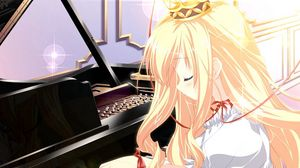 Preview wallpaper girl, blonde, piano, play, music