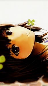 Preview wallpaper girl, brunette, eyes, tenderness, clover