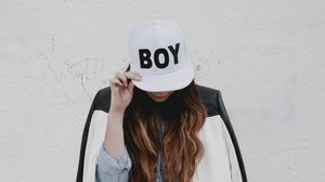 Preview wallpaper girl, cap, inscription, hipster, style