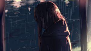 Preview wallpaper girl, cat, friends, rain, anime