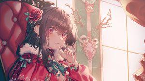 Preview wallpaper girl, chair, vintage, anime, art