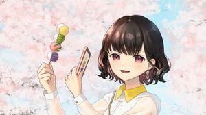 Preview wallpaper girl, dessert, photo, sakura, flowers, anime