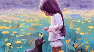 Preview wallpaper girl, dog, flowers, pet, cute