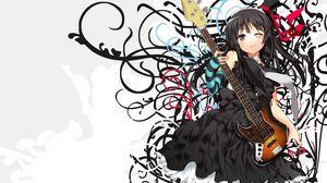 Preview wallpaper girl, dress, black, guitar, rock, musician