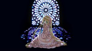 Preview wallpaper girl, dress, window, stained glass, sadness