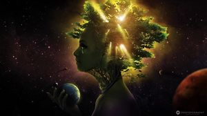Preview wallpaper girl, face, tree, ball, space