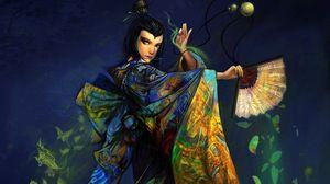 Preview wallpaper girl, fan, kimono, dance