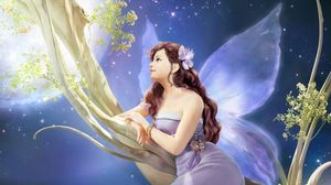 Preview wallpaper girl, fantasy, fairy, tree