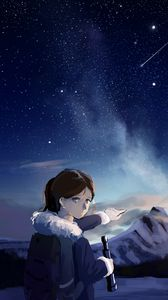 Preview wallpaper girl, gesture, mountains, night, free, anime