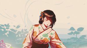 Preview wallpaper girl, glance, kimono, anime, art, japan