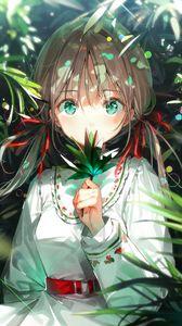 Preview wallpaper girl, glance, leaves, rays, anime, art