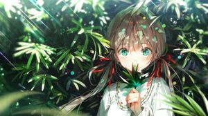 Preview wallpaper girl, glance, leaves, rays, anime, art