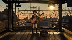 Preview wallpaper girl, guitar, anime, musician, electric guitar, art