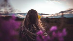 Preview wallpaper girl, hair, flower, nature, twilight