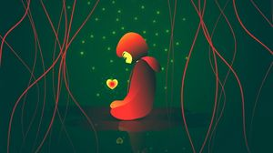 Preview wallpaper girl, heart, glow, stars