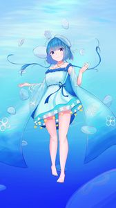 Preview wallpaper girl, jellyfish, water, underwater, blue, anime
