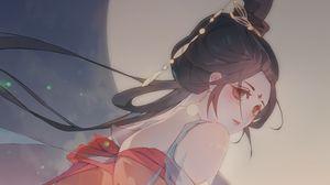 Preview wallpaper girl, kimono, moon, anime, art