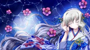 Preview wallpaper girl, kimono, wind, hair, space