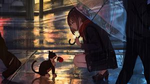 Preview wallpaper girl, kitten, flower, anime, street, rain