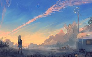Preview wallpaper girl, landscape, art, morning, sunrise