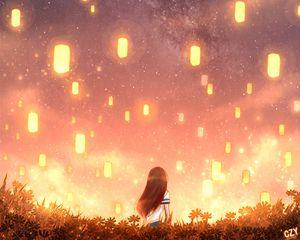 Preview wallpaper girl, lights, grass, art