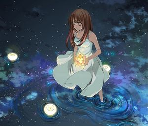Preview wallpaper girl, lights, water, stars