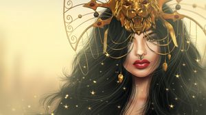Preview wallpaper girl, mask, lion, makeup, art, fantasy
