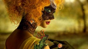 Preview wallpaper girl, mask, masquerade, make-up