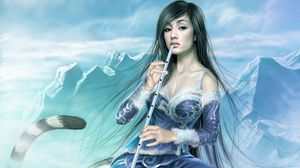 Preview wallpaper girl, mountains, warrior, tail