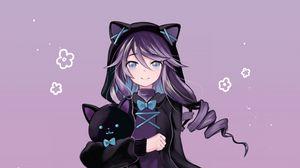 Preview wallpaper girl, neko, ears, cat, toy, anime, art
