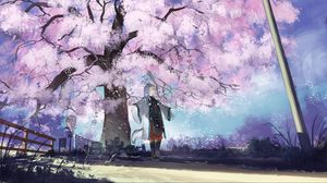 Preview wallpaper girl, neko, sakura, petals, anime