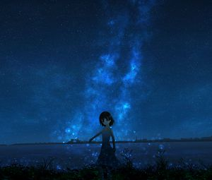 Preview wallpaper girl, night, starry sky, anime