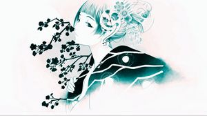 Preview wallpaper girl, oriental, flowers