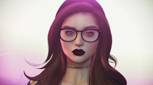 Preview wallpaper girl, piercing, glasses, face, art