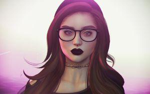 Preview wallpaper girl, piercing, glasses, face, art