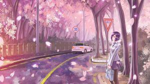 Preview wallpaper girl, road, transition, sakura, live, anime, art